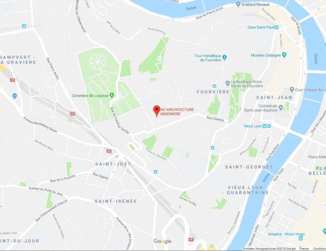 Maps de l'adresse du cabinet d'architectes lyonnais ACarchitecture&Inginierie